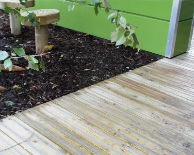 Timber decking photo of athe DFES Growing Schools Garden 04