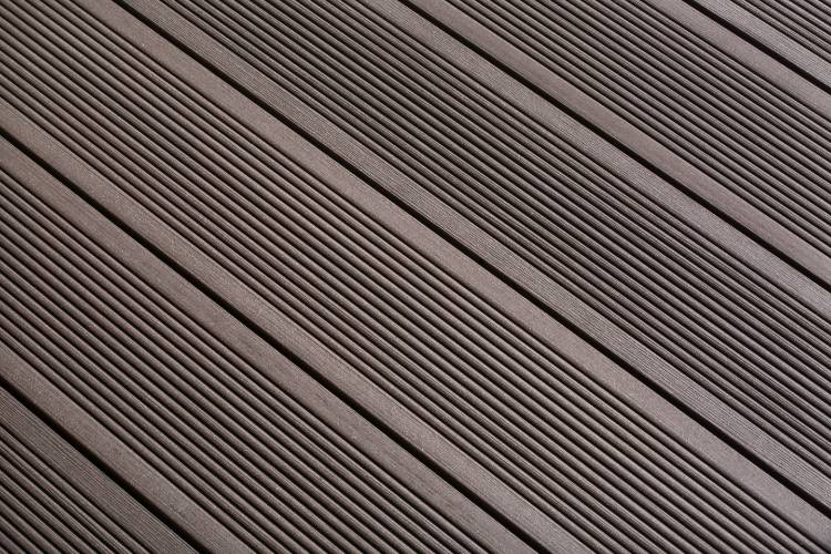 SmartBoard Chocolate Brown decking reeded profile in situ